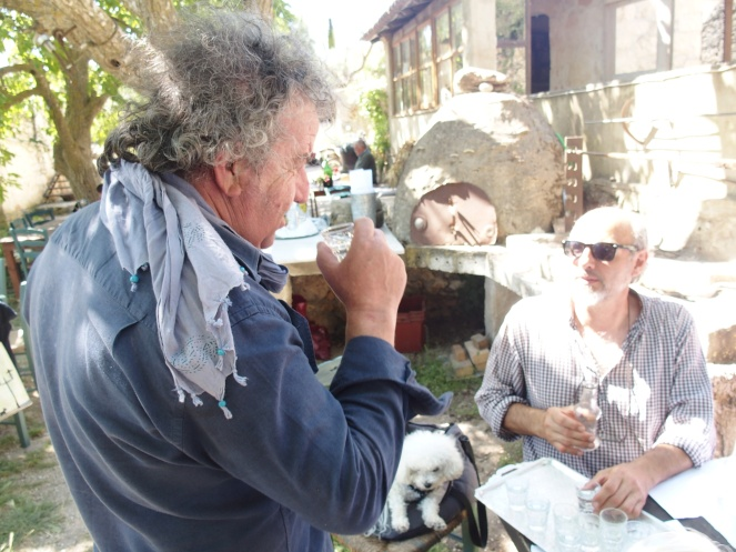 Adonis and Yorgo check out the tsipouro