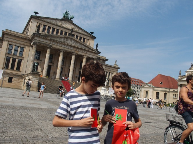 In Gendarmenmarkt with their new Ampelmann goodies
